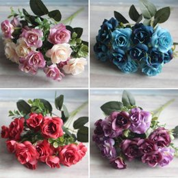pink brooches wholesale UK - SOLEDI Flowers for Wedding Party Bouquet Bridal Flower Rose Foam Brooch Home Aartificial