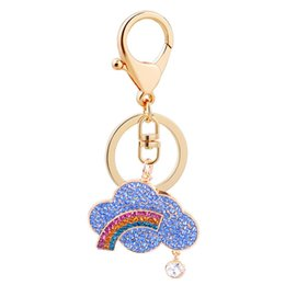 Discount cloud cars - New creative rainbow cloud metal key chain pendant seven colorful cloud DIY girls bags car accessories small gifts