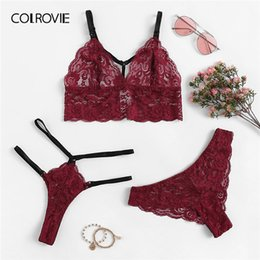 bed62a31ac93e wholesale Burgundy Scalloped Floral Lace Sexy Lingerie Set With Thong Women  2019 Wireless Intimates Transparent Underwear Bra Set