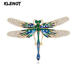 Enamel Dragonfly Brooch Green Crystal Brooches for Costume Women Party  Decoration Pin Wedding Christmas Jewelry New Year Gift 67114a6752da