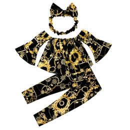 $enCountryForm.capitalKeyWord Australia - Cute Baby Girls Floral Printing Outfits Long-sleeved Bell Sleeve 3Pcs Toddler Clothes Pants Outfits Suit With Headband