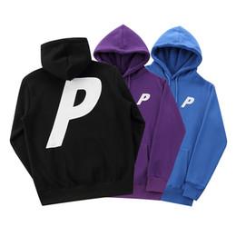 Standard p online shopping - P Letter Print Mens Hip Hop Loose Hoodies Women Streetwear Hooded Pullover Sweatshirts Lovers Tops Clothing Black Blue Purple Hoodies