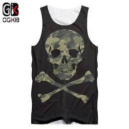 Wholesale tank top skull men for sale - Group buy OGKB Man New Tank Top Black Green Stitching D Printed Camouflage Skull Streetwear Best Selling XL CX200630