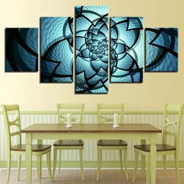 Canvas Prints Frame NZ - Modern Canvas Home Decoration Printed 5 Panel Blue Flowers Pattern Pictures Painting Wall Art Modular Poster Frame HD Living Room