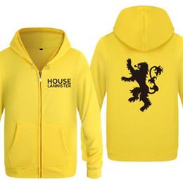 $enCountryForm.capitalKeyWord NZ - Mens Hoodie House Lannister Printed Hoodies Men Cotton Fleece Zipper Jacket Coat Skate Sweatshirt Hip Hop