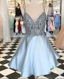 $enCountryForm.capitalKeyWord Australia - Rachel Allan 2019 light sky blue Homecoming Dresses sparkly shinning beaded Custom Made spaghetti straps Short Prom dress Formal Party dress