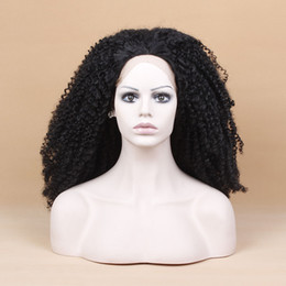 yellow curly hair UK - 180density Afro Kinky Curly Lace Front synthetic Wigs with baby hair For Black Women heat resistant short Brazilian Hair Wigs Pre-Plucked