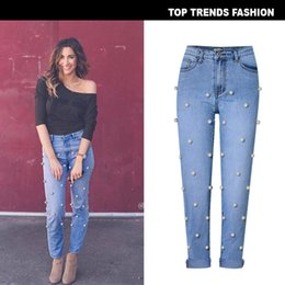 $enCountryForm.capitalKeyWord Australia - Free Shipping Suit-dress Street Popular High Waist Easy Wash Directly Canister Cowboy Trousers Nine Part Pants Set Nail Will Pearl