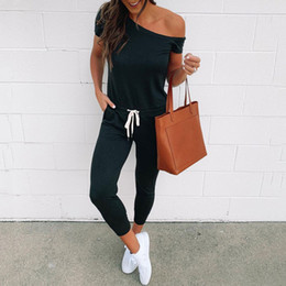 Wholesale black off shoulder jumpsuit resale online - 2019 Summer Black Jumpsuit Women Rompers Elegant Jumpsuit Romper Short Sleeve Off Shoulder Ladies Female Jumpsuits
