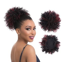 $enCountryForm.capitalKeyWord Australia - Afro Bun Puff Kinky Curly Ponytail For Black Women Synthetic Hair Clip in Hairpiece 8inch