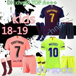 2c5070003ef Thai 2018 2019 Barcelona soccer jersey SUAREZ O.DEMBELE kids third home  PIQUE Messi Champions Football shirt kids kit+socks INIESTA shorts