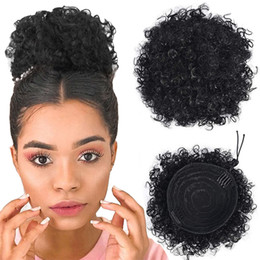 curly hair buns NZ - High Puff Afro Ponytail Short Kinky Curly Ponytail Drawstring Updo Bun Hair Extension with Clips 10inches 120g Human hair Chignon hairpieces