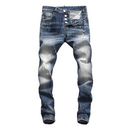 China 19 New fashion men's hollow jeans embroidered bone fashion hip-hop fashion jeans tights high quality jeans DN34 supplier knee hollow ripped jeans suppliers