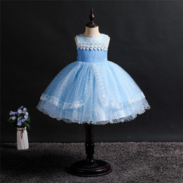 tulle lace styles for children Australia - Girl Kids Birthday Party Princess Dresses Tulle Lace Layered Flower Girls Dress Bridesmaid for Wedding Children Summer Clothes Tutu Gowns