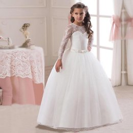 0e127931224 Kids Prom Dresses Australia - 5-14y Kids Girls Long White Lace Flower Party  Ball
