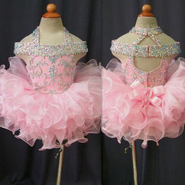 $enCountryForm.capitalKeyWord Australia - 2019 Toddler Pageant Dresses Pink Organza Cupcake Kids Prom Gowns Crystal Beaded Open Back With Bow Formal Little Girls Birthday Party Dress