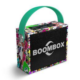Green Plastic Wood Australia - Wooden Bluetooth Speaker Stere Hifi Boombox Green Graffiti Wood Speakers with Handle Supports TF Card FM Radio Outdoor Portable Soundbox Kid