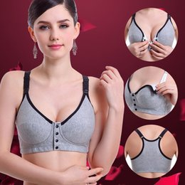 d73f5648b23d8 Pure cotton breast-feeding bra without steel ring maternity underwear large  size front button breast-feeding vest sports bra