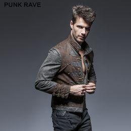 $enCountryForm.capitalKeyWord Australia - PUNK RAVE Mens Punk Short Jacket Coat Stand-up Collar Sipper Leather Novelty Hip Hop Streetwear Personality Jacket