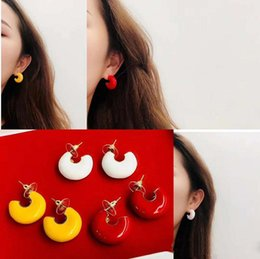 Colorful Girl Painting Australia - Trendy Women Earrings Yellow Gold Plated Colorful Oil Painting Earrings for Girls Women for Party Wedding Nice Gift