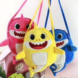 $enCountryForm.capitalKeyWord Australia - Cartoon Plush Baby Shark Bags Girl Boy Kids Children Shoulder Backpacks Cross Body Coin Purse Storage Bags Bags XMas Gifts HH9-2198