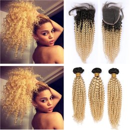 dark roots blonde closure Australia - #1B 613 Ombre Blonde Brazilian Virgin Hair Bundles Dark Root with Closure Kinky Curly Blonde Ombre Weaves with 4x4 Front Lace Closure