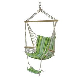 Venta al por mayor de Campamento Silla portátil de moda Verde Ocio Columpio Hamaca Colgante Silla al aire libre Jardín Patio Patio 260 lb Max