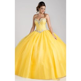 Discount pink rhinestone corset dress - Fashion Yellow Ball Gown Cheap Quinceanera Prom dresses Sweetheart Tulle Rhinestones Beaded Ruched Corset Sweet 15 Dress