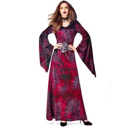movie vampire costumes Canada - Wine Red Halloween Magician Costume Women Vampire Cosplay Dress Witch Sorcerer Theme Party Outfit Palace Princess Hooded Dress