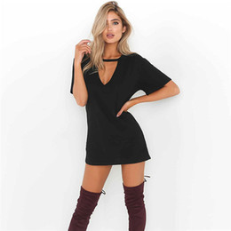 hot clothes for plus size NZ - Free Shipping Hot Selling Dresses for Women Clothes Fashion short Sleeve Casual Loose V Neck T-Shirt Dress Plus Size S-XXL YKD9