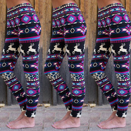 Discount reindeer print leggings - Women Christmas Yoga Pants Xmas Snowflake Reindeer Knitted Seamless Leggings Lady Skinny Pencil Pants Gym Trousers Sport