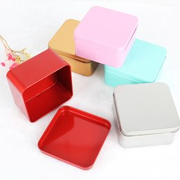 Discount empty tea tins - 300pcs 8.5*8.5*4.5cm Popular Tin Box Empty Colorful Metal Tea Candy Tin Box Jewelry Storage Case Square Metal Mini Candy
