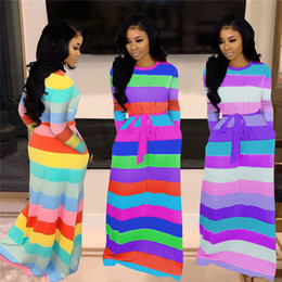 long sleeve maxi dresses Australia - Women sexy maxi dresses casual long skirts fall winter clothing colorful striped print panelled pocket loose long sleeve dress