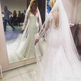 Backless Wedding Dress Veils UK - Elegant 2019 Full Lace Wedding Dresses V Neck Backless Mermaid Bridal Gown With Long Veils Custom Made