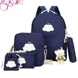 Discount cloud pens - Gusure 5pcs Cute Cloud Print Backpack with Bear For Women School Bags Student Teen Girls Canvas Shoulder Bag Pen Pouch R