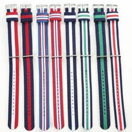 colorful watch bands 2019 - Fashion Colorful Weaving Watch Bands Unisex Nylon Strap Wristband Canvas Watch band Casual Stripe Sport Watch Straps TTA