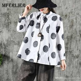ladies polka dot blouse white Australia - Mferlier Women Blouse Turn Down Collar Long Sleeve Big Polka Dot Print Pleated Front Ruffles Hem Ladies Casual Tops