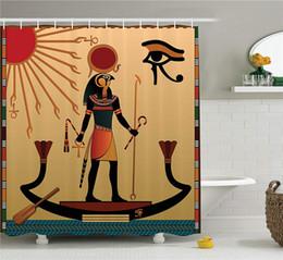 $enCountryForm.capitalKeyWord Australia - Egyptian Shower Curtain, Ancient Figure Sun Old Egyptian Religion Grace Icons Tradition Illustration Print, Fabric Bathroom Decor Set