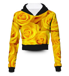 sublimation printing clothing Australia - Any color Any Printing Custom made yellow roses 3D Sublimation Printing crop hoody hoodie Plus Size Clothing