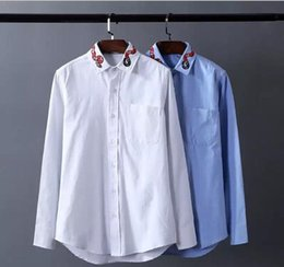 mens shirt collar styles NZ - European Style Mens Long Sleeve collar embroidery color cotton shirt personality high quality fashion men s shirts