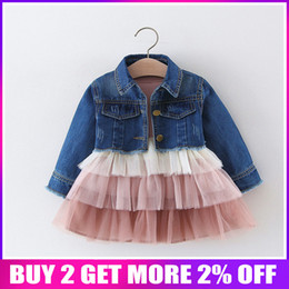 Blocks For Girls Australia - 2019 Spring Autumn Baby Infants Mesh Ball Gown Cake Color Block Dress For Girls Princess Vestido+denim Jeans Coat 2pcs Set S8236 Y19061101