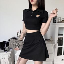 Wholesale cute korean women clothing online – oversize Korean Clothes Piece Set Women Black Gothic Crop Top T shirt Preppy Mini Skirt High Waist Outfit Cute Cartoon Emboridery