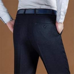 Black Dress Pants Men NZ - Black Suit Pant For Men Loose Formal Wool Men Suit Pants Classic Straight Wedding Mens Dress Pants Big Size 42 44 2019