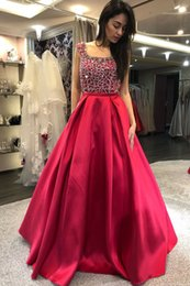 $enCountryForm.capitalKeyWord Australia - Burgundy Backless Sexy 2019 African Evening Dresses Square Beaded Sequins Prom Dresses A-line Satin Formal Party Bridesmaid Pageant Gowns