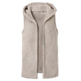 China Women Winter Fluffy Vest Jacket Autumn Fluffy Coat Hoodies Fleece Coat Sleeveless cheap fleece hooded vest women suppliers