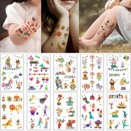 6219e13c6 Funny Circus Troup Fake Temporary Tattoo Sticker Animals Performance  Cartoon Decal for Kid Small Clown Lion Elephant Body Art Makeup Tattoos