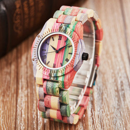 Wholesale Wood Watch Women Ladies Quartz Wristwatches Bamboo Colorful Printing Wooden Band Wrist Clock Simple Dial Female Bracelet Watches