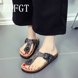 flip flop bling NZ - EFFGT Fashion Cork Sandals Women Slides Sandals Summer Beach Shoes Female Sequin Clog Shoes Glitter Bling Ladies Flip Flops K13