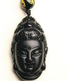 Carved Jade Red Pendants Australia - Beautiful hot 36x21x15mm Chinese crafts black obsidian carved Lucky blessing GuanYin amulet pendant necklace