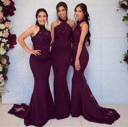 plum bridesmaids dresses Australia - Plum Halter Neck Mermaid Bridesmaid Dresses Sweep Train Sleeveless Bridesmaid Dress Formal Wedding Party Prom Dress Evening Gowns